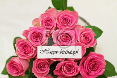 cartão do feliz aniversario com rosas cor de rosa com glitter