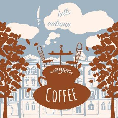 Fotomural Cartão, Outono, café, casa, Outono, folhas, vetorial, bandeira, Ilustração