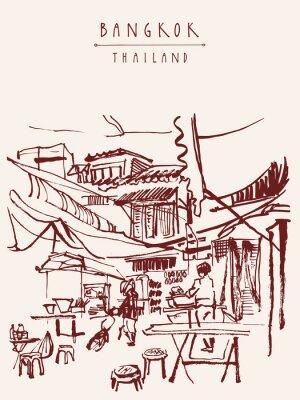 Fotomural Cartão tirado mão de Banguecoque Tailândia