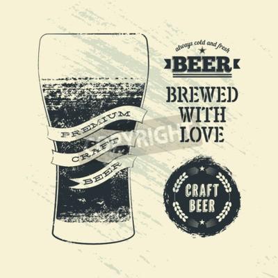 Fotomural Cartaz da cerveja do estilo do grunge do vintage da tipografia com vidro da cerveja. Ilustração do vetor.