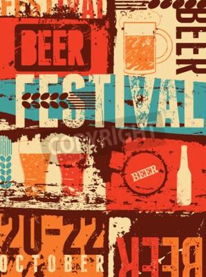 Fotomural Cartaz do grunge do estilo do vintage do festival da cerveja. Ilustração retro do vetor.