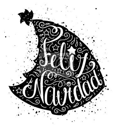 Cartaz Preto E Branco Da Tipografia Do Doodle Com Arvore De Natal