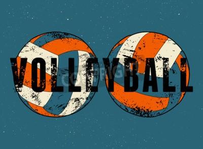 Fotomural Cartaz tipográfico do estilo do grunge do vintage do voleibol. Ilustração retro do vetor.
