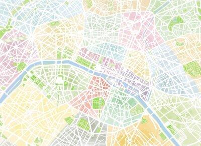 Fotomural Cartina Parigi, desenho de mão, pennellate, strade e vie, Francia