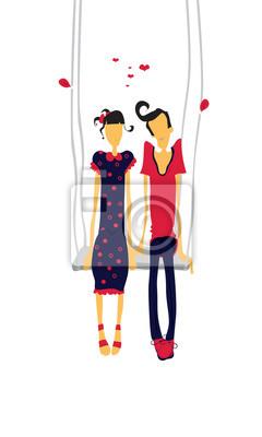 Casal Apaixonado Amantes Em Teeterboard Fotomural Fotomurais