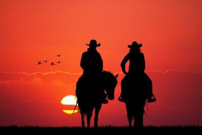 Fotomural casal na silhueta do cavalo