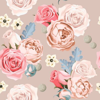 Fotomural Casamento, flores, seamless