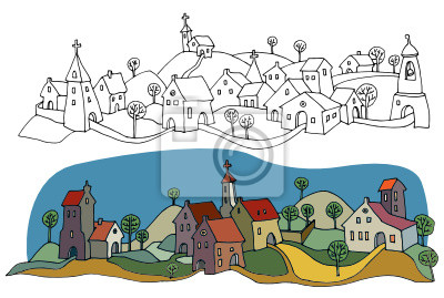 Casas Desenho Ou Paisagem Rural Versao Colorida Fotomural