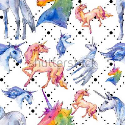 Fotomural Cavalo de unicórnio fofo. Conto de fadas. Teste padrão sem emenda do fundo do chifre animal do arco-íris. Textura de impressão de papel de parede de tecido. Animal selvagem do Aqua