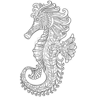 Cavalo Marinho Estilizado Dos Desenhos Animados De Zentangle