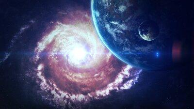 Fotomural Cena do universo com planetas, estrelas e galáxias no espaço exterior que mostram a beleza da exploração do espaço. Elementos fornecidos pela NASA