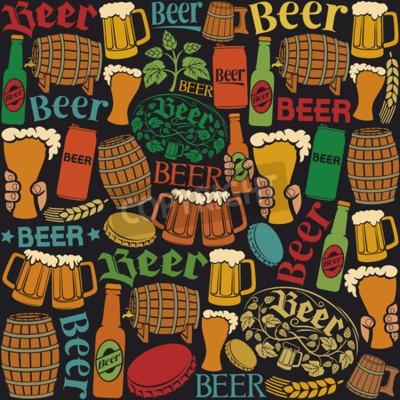 Fotomural Cerveja, ícones, seamless, Padrão, Cerveja, fundo, lúpulo, folha, lúpulo, ramo, madeira, barril, vidro, Cerveja