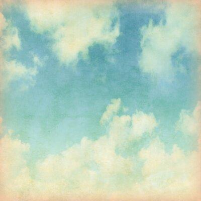 Fotomural Céu azul com nuvens no estilo do grunge.