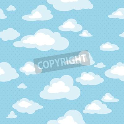 Fotomural Céu azul com nuvens, vetor padrão sem costura
