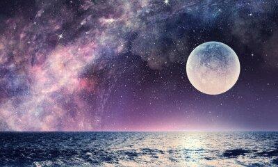 Fotomural Céu estrelado e lua. Meios mistos