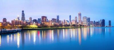 Fotomural Chicago da baixa e do Lago Michigan Panorama