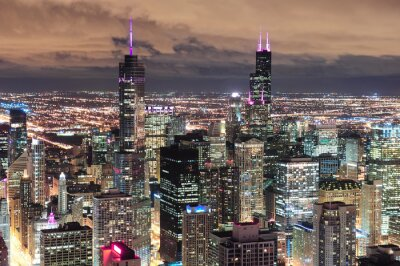 Fotomural Chicago, urbano, aéreo, vista, anoitecer
