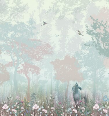 Fotomural Children's wallpaper. Blue and pink forest. Fairy forest with horse and caliber.