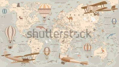 Fotomural childrens retro world map with animals airplanes and balloons