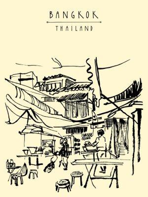 Fotomural Cidade de China em Banguecoque, Tailândia. Bancas de comida, mesas, fezes. As pessoas que compram comida chinesa em um simples café da rua. Cartão tirado mão do vintage vertical. Ilustração do vetor