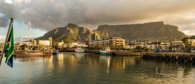 Fotomural Cidade do Cabo, Sudafrica, Waterfront, tramonto, Table Mountain