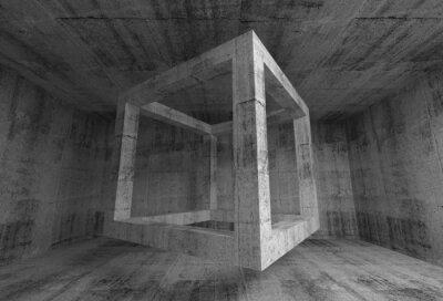 Fotomural Cinza escuro abstrato quarto concreto interior. Vôo 3d cube