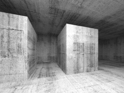 Fotomural Cinza escuro abstrato quarto concreto vazio, 3d interior