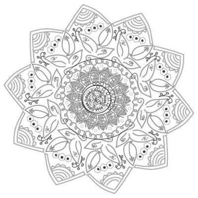 Fotomural Circular padrão abstrato de diferentes elementos.