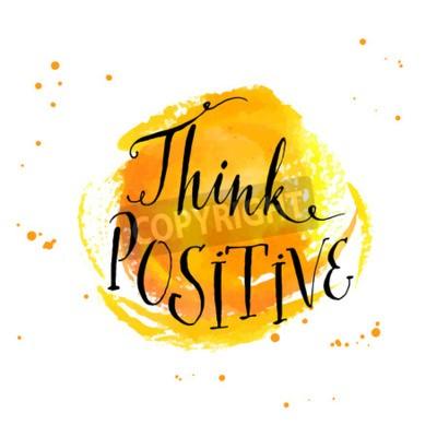 Fotomural Citações inspiradas da caligrafia moderna - pense positivo - no fundo amarelo da aguarela
