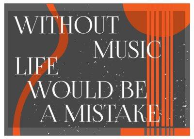 Fotomural Citações inspiradas sem música A vida seria um MIstake. Conceito do cartaz da tipografia. Fundo da silhueta da guitarra. Idéia para o projeto temático musical. Ilustração Do Vetor.