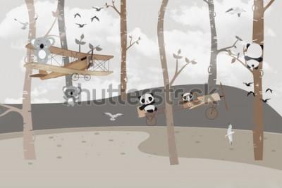 Fotomural Coalas e pandas fofos brincando na selva