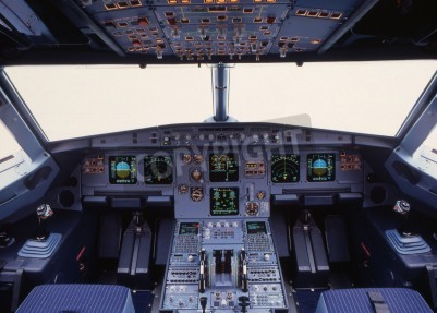 Fotomural cockpit de avião de um avião de passageiros moderno