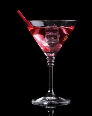 Fotomural Cocktail vermelho no vidro de martini isolado no preto