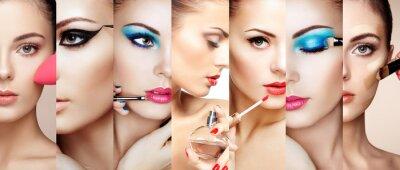 Fotomural Colagem da beleza. Rostos das mulheres. Foto da forma. O artista de composição aplica o batom ea sombra de olho. Mulher, aplicando, perfume