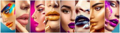 Fotomural Colagem da composição. Beleza maquiagem idéias do artista. Lábios coloridos, olhos, sombras e arte de unha