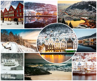 Fotomural Colagem de inverno e atrações em Bergen