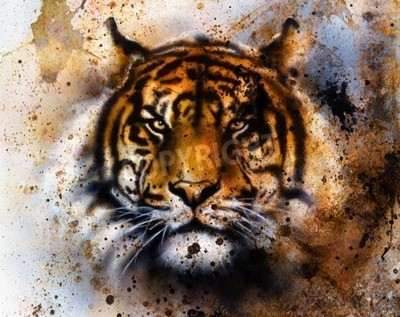 Fotomural Colagem do tigre no fundo abstrato da cor, estrutura da oxidação, animais selvagens, contato de olho.