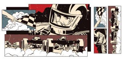 Fotomural Colagem sobre esporte temático e corridas de carros.