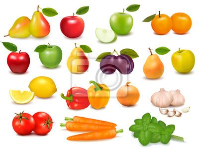04db943f5 Coleção grande de frutas e legumes vetor fotomural • fotomurais ...