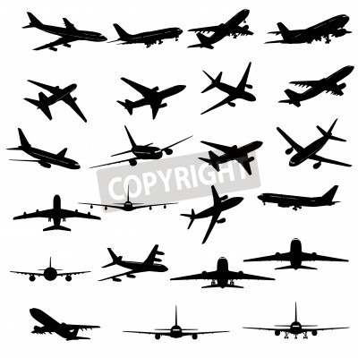 Fotomural Coleção grande de silhuetas diferentes de avião.
