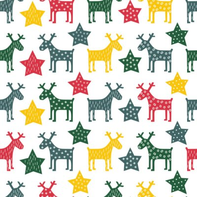 Fotomural Colorful seamless retro Christmas pattern - Xmas reindeer and night stars. Happy New Year background. Vector design for winter holidays on white background.