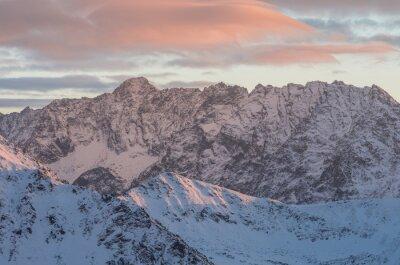 Fotomural Colorido, montanha, pôr do sol, panorama, inverno, alto, tatras