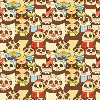 Fotomural Colorido, seamless, padrão, engraçado, pandas