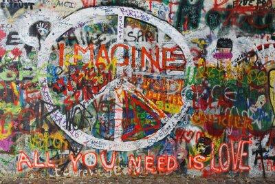 Fotomural Colourfull paz graffiti na parede