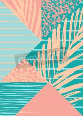Fotomural Composição abstrata do verão com textura tirada mão do vintage e elementos geométricos. Vector o molde para o poster, a tampa, o projeto de cartão e outros usuários.