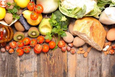 Fotomural Composição com dieta e alimentos saudáveis
