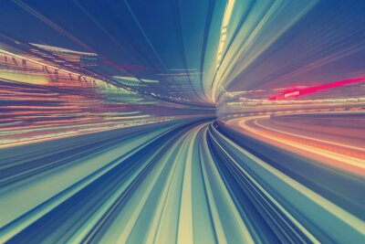 Fotomural Conceito, alta velocidade, tecnologia, através, Um, Tokyo, monorail