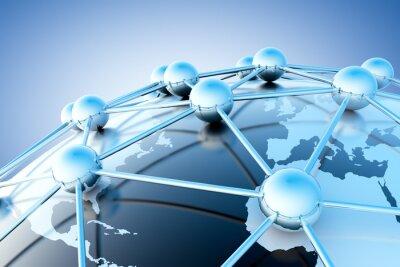 Fotomural concepto de trabajo en Internet y con vermelho mapa del mundo