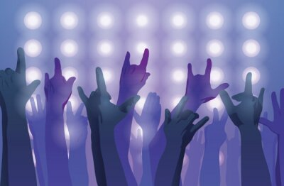 Fotomural Concerto de rock. Mãos ao ar.