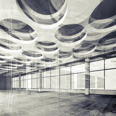 Fotomural Concreto interior e fio-frame linhas, 3d ilustração